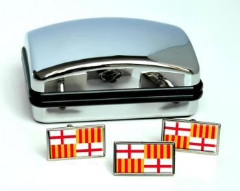 Barcelona (Spain) Flag Cufflink and Tie Pin Set