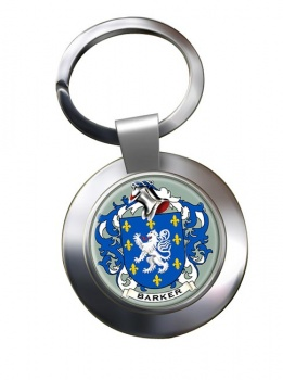 Barker Coat of Arms Chrome Key Ring