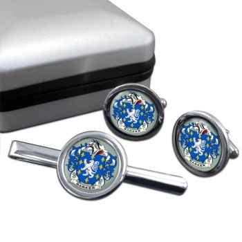 Barker Coat of Arms Round Cufflink and Tie Clip Set
