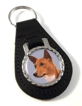 Basenji Dog Leather Key Fob