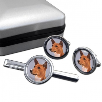 Basenji Dog  Cufflink and Tie Clip Set
