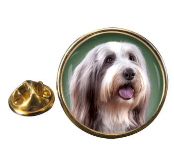 Bearded Collie Round Pin Badge
