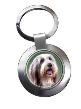 Bearded Collie Metal Key Ring