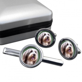 Bearded Collie  Cufflink and Tie Clip Set