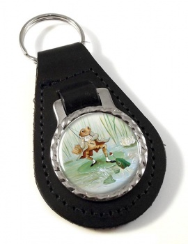 Angling Frog by Beatrix Potter  Leather Keyfob