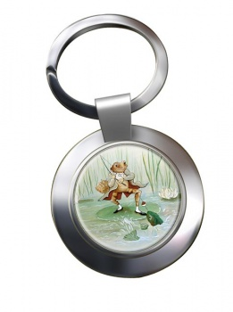 Angling Frog by Beatrix Potter  Chrome Key Ring
