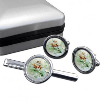 Angling Frog by Beatrix Potter  Round Cufflink and Tie Clip Set
