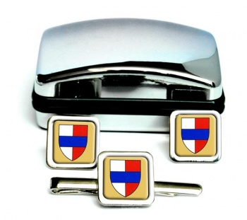 Bedford (England) Square Cufflink and Tie Clip Set