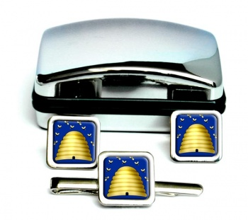 Beehive Masonic Symbol Square Cufflink and Tie Clip Set