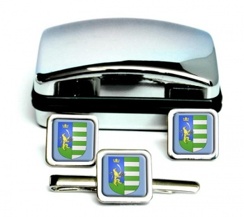 Bekes Square Cufflink and Tie Clip Set