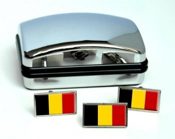 Belgique Belgie (Belgium) Flag Cufflink and Tie Pin Set