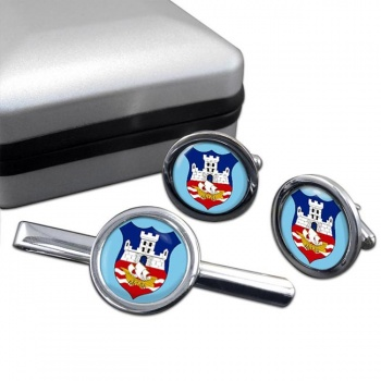 Belgrade  (Serbia)  Round Cufflink and Tie Clip Set