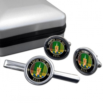 Bell of Kirkconnel Scottish Clan Round Cufflink and Tie Clip Set