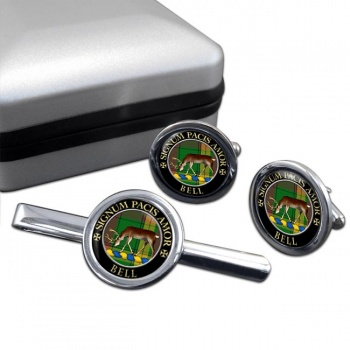 Bell of Provoschaugh Scottish Clan Round Cufflink and Tie Clip Set