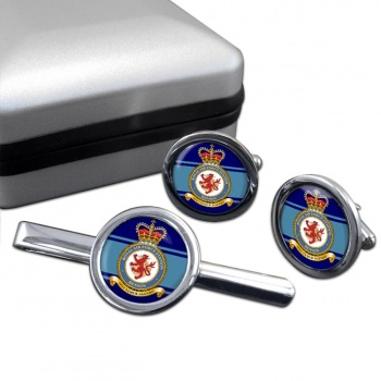 RAF Station Benson Round Cufflink and Tie Clip Set