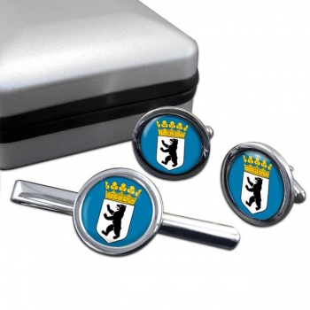 Berlin (Germany) Round Cufflink and Tie Clip Set