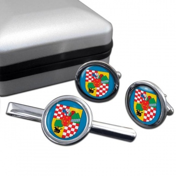 San Bernardo (Chile) Round Cufflink and Tie Clip Set