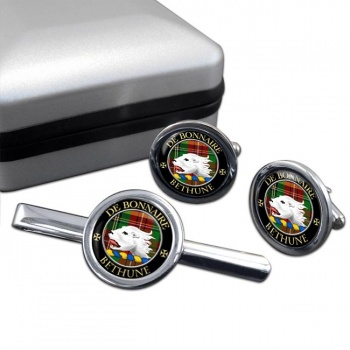 Bethune Scottish Clan Round Cufflink and Tie Clip Set