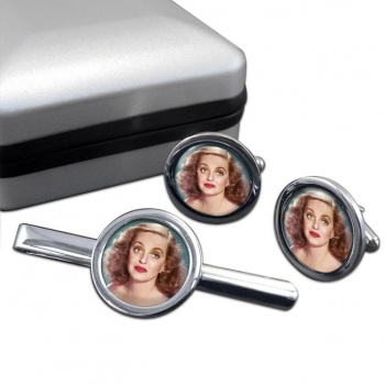 Bette Davis Round Cufflink and Tie Clip Set
