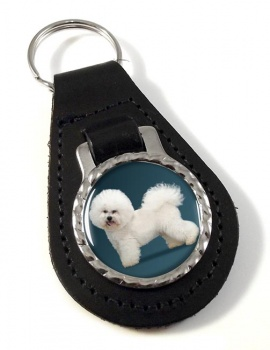 Bichon Frise Leather Key Fob