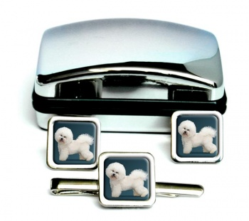Bichon Frise  Square Cufflink and Tie Clip Set