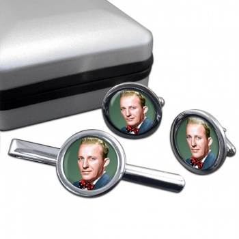 Bing Crosby Round Cufflink and Tie Clip Sert