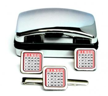 Bingo Card Square Cufflink and Tie Clip Set