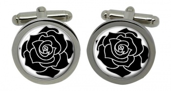 Black Rose Round Cufflinks