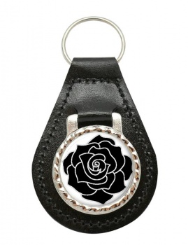 Black Rose Leather Key Fob