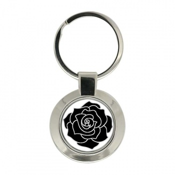 Black Rose Chrome Key Ring