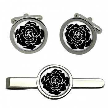 Black Rose Round Cufflink and Tie Clip Sert