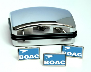 BOAC Rectangle Cufflink and Tie Pin Set
