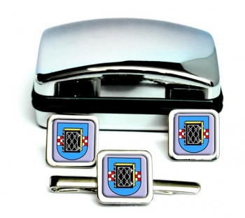 Bochum (Germany) Square Cufflink and Tie Clip Set