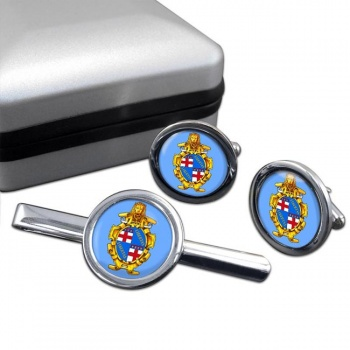 Bologna (Italy) Round Cufflink and Tie Clip Set