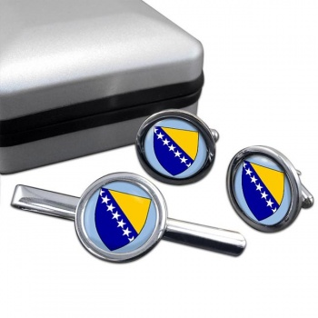Bosnia and Herzegovina Round Cufflink and Tie Clip Set