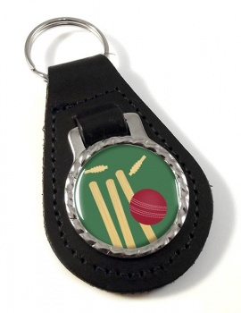 Bowled (Cricket) Leather Key Fob