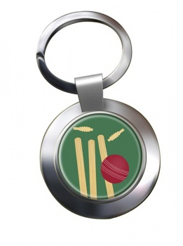 Bowled (Cricket) Chrome Key Ring