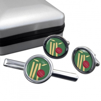 Bowled (Cricket) Round Cufflink and Tie Clip Set