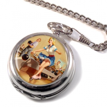 Bowling Accident Pin-up Girl Pocket Watch