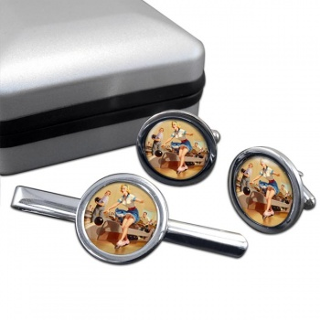 Bowling Accident Pin-up Girl Round Cufflink and Clip Set