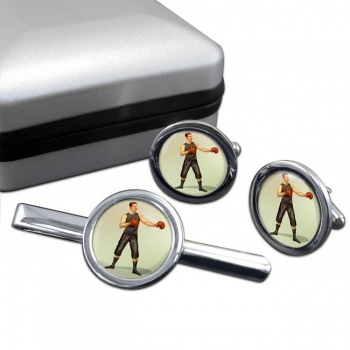 Boxing World Champion Round Cufflink and Tie Clip Set