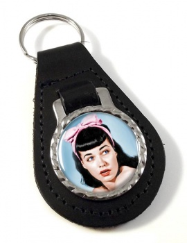 Bettie Page Leather Key Fob