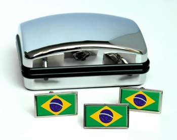 Brazil Brasil Flag Cufflink and Tie Pin Set
