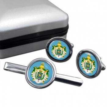 Imperio do Brasil Round Cufflink and Tie Clip Set