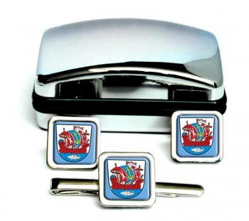 Bremerhaven (Germany) Square Cufflink and Tie Clip Set