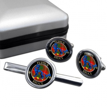 Bruce Scottish Clan Round Cufflink and Tie Clip Set