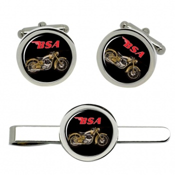 BSA Gold Flash Cufflink and Tie Clip Set