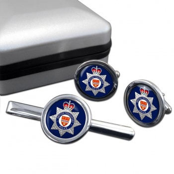 British Transport Police Round Cufflink and Tie Clip Set