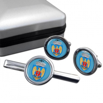 Bucuresti Bucharest (Romania) Round Cufflink and Tie Clip Set