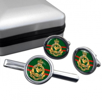 Royal Buckinghamshire Hussars (British Army) Round Cufflink and Tie Clip Set